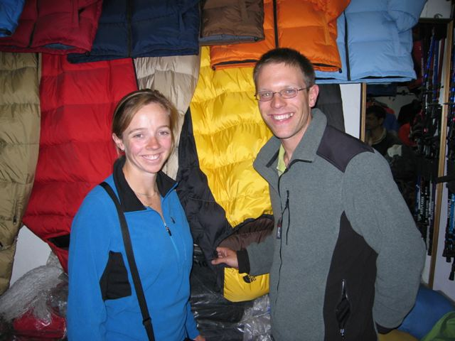 Checking out sleeping bags for Chris and Bridget in Kathmandu. A bigger shop this time. Photo Chris Garrard