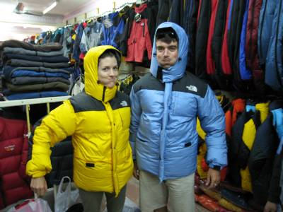 Chris and Bridget feeling very puffy wearing their new down jackets!