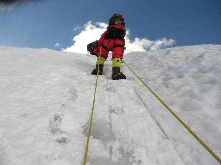 Fiona climbing up the Lhotse face today. Photo Paul Adler.