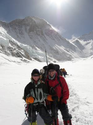Paul and Fiona about half way to C2. Everest and the Lohtse face is in the background. Photo Dasona Sherpa.