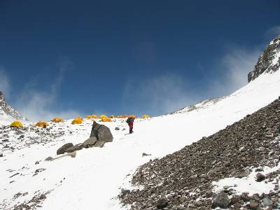 The tents at the South Col. Everest is to the left. Photo Paul Adler.