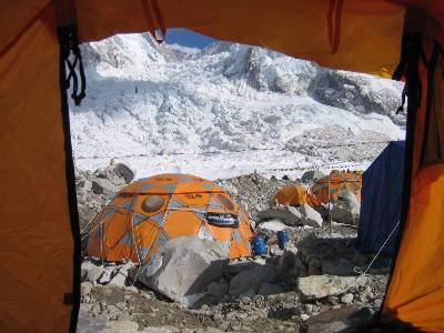 View from inside our tent to the icefall. Comms tent is in the foreground. Photo: Paul Adler.