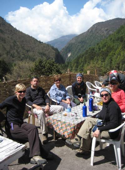 Our morning tea break before heading up the Tengboche hill. From left to right, Beck, Cas, Marg, Julia, Fiona and Denise.