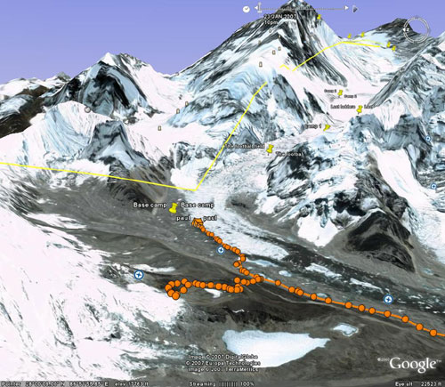 Paul and Rudi's track today from BC to the lower slopes of Pumori and back. Image from Google Earth by Nick Grainger