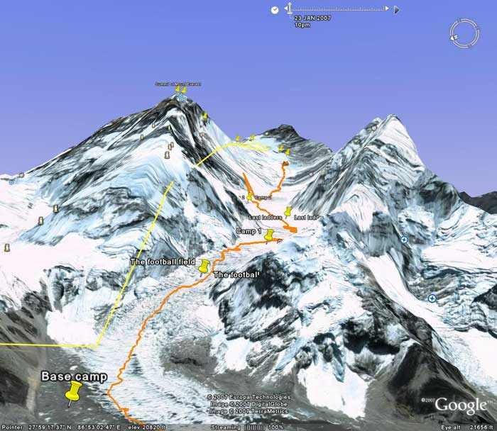 Paul's track up to camp 3 on the Lhotse face. (Ignore the track heading briefly up the SW face, this is from an in-correct GPS plot). Image from Google Earth by Nick Grainger.