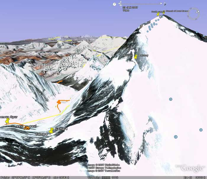 The ascent from camp 4. We won't have Paul's track until he uploads the GPS data, but you can see the label for the Balcony. The orange track to the distant lower left/centre is down on the glacier probably between camp 1 and camp 2. Image from Google Earth by Nick Grainger