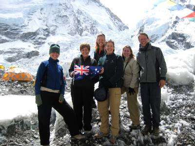 The Australian contingent at Base Camp. From left to right, Beck, Marg, Fiona, Liz, Denise and Paul. Photo: Ptemba.