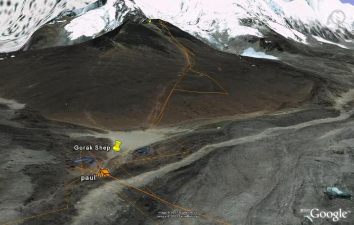 "Here's a Google Earth view giving some more perspective on the climb up Kala Patar (and giving the guys a bit more credit for their hard work!). When you zoom in using Google Earth, you can also see the two buildings that make up this last ""village"". Fiona Adler"