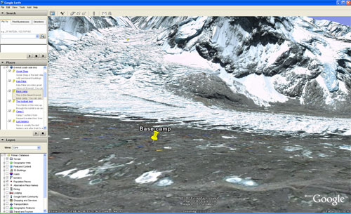 This screen shot shows you the view from Everest base camp in my Google Earth map of Everest. Paul Adler.
