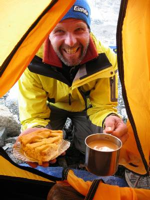 Rudi delivers a piece of fresh apple pie and a cup of tea to my tent as I write this update. He said it's to thank me for passing on the messages posted here from his partner, Corrina. Picture Paul Adler.