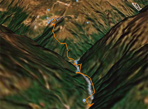 The orange line shows Paul, Tim and Damien's trek from yesterday in Google Earth.