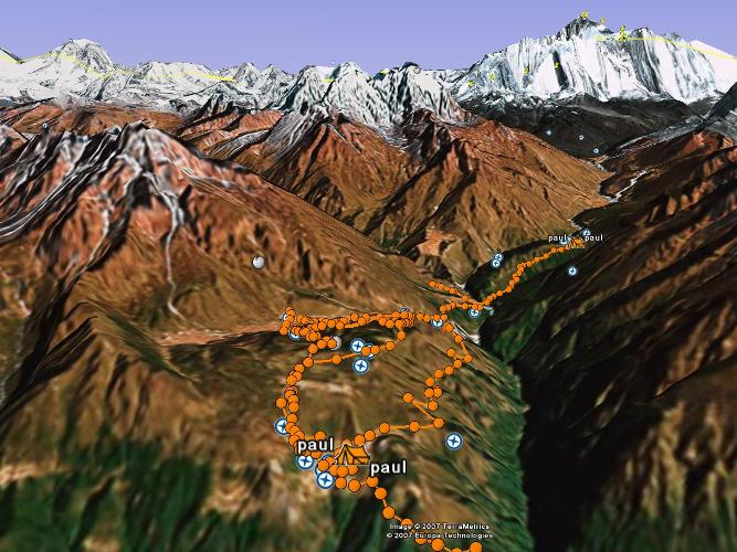Here's the Google Earth view of today's trek. From this vantage point we can actually see Mt Everest in the distance (although the trekkers now won't see her until they are nearly at Gorak Shep - the last village before basecamp). Fiona Adler