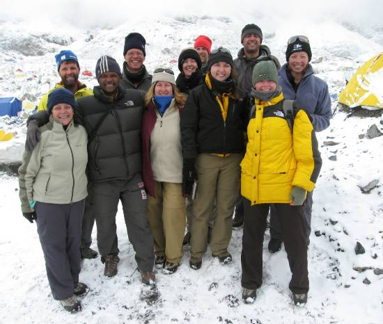 Saying goodbye at base camp this morning. From L to R: Marg, Rudi, Ravi, Paul, Denise, Liz, Dirk, Julia, Cas, Beck & Fiona. Photo Meagan McGrath.