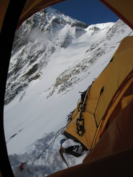 The view from my tent on the Lhotse face. You can see how little room there is at the edge of the tents - about a boot width. The South Col is visible. Photo Paul Adler.