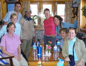 The whole group together having just arrived at Lukla. From left to right we have Liz, Beck, Cas, Ang Nima Sherpa, Fiona, Julia, Marg and Denise.