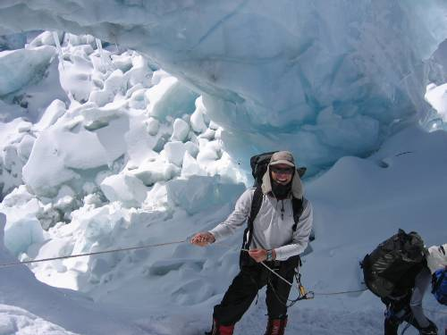 Paul climbing up the icefall yesterday. Photo Lhakpa Nuru.