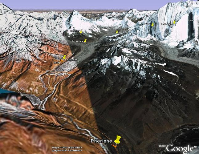 Here's the Google Earth view from today. The orange line shows Paul & co's position. Dukla is just after the river crossing. You can clearly see the Khumbu glacier that the guys are now following up to basecamp. Fiona Adler.
